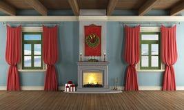 Lyxig vardagsrum med xmas-dekoren royaltyfri illustrationer