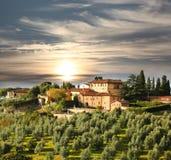 Lyxig villa i Chianti, Tuscany, Italien Royaltyfri Foto
