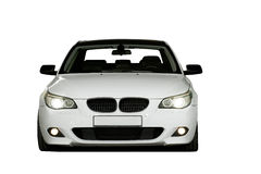 Lyxig vit sportbil för blixt som isoleras på vit Fotografering för Bildbyråer