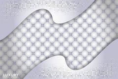 Lyxig vit texturerad bakgrund med form f?r ?verlappning 3d royaltyfri illustrationer