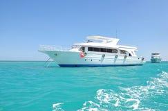 lyxig vit yacht för bräde Royaltyfri Bild