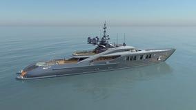Lyxig yacht i det öppna havet stock illustrationer