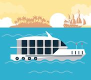 Lyxig yacht på havet vektor illustrationer
