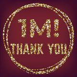 Lyxiga anhängare tackar som dig, blänker vektorn guld royaltyfri illustrationer