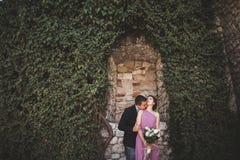 Lyxiga brölloppar som kramar och kysser på de ursnygga växterna för bakgrund, grotta nära forntida slott Arkivfoton