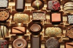 Lyxiga choklader i ask Arkivbilder