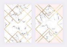 Lyxiga gifta sig mallar med marmorerar geometrisk design med polygonal guld- linjer Modern backgrond för inbjudan, bröllop stock illustrationer