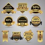 Lyxiga guld- etiketter och elegant guld- emblemvektorsamling royaltyfri illustrationer
