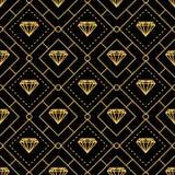 Lyxiga guld- linjer sömlös modell för diamant stock illustrationer