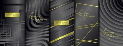 Lyxiga högvärdiga förpackande mallar Fastställda förpackande mallar för vektor med olik textur för lyxiga produkter stock illustrationer