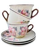 Lyxiga koppar för porslintappningte med härlig blom- design Royaltyfria Bilder