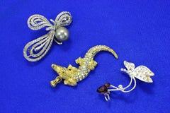 Lyxiga smycken med stenar Smycken för kvinna` s Arkivfoto