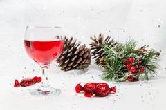Lyxiga vin- och chokladsötsaker för julen kryddar Fotografering för Bildbyråer