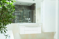 Lyxigt badrum från insidan Arkivfoton