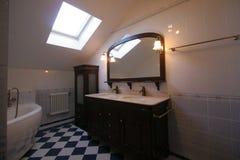Lyxigt badrum i klassiska färger royaltyfria foton