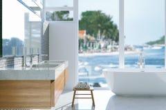 Lyxigt badrum med det panorama- fönstret 3d framför Fotografering för Bildbyråer