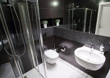 Lyxigt badrum med duschen Arkivbilder