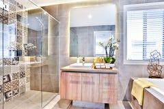Lyxigt badrum med ett tvättande område och dusch royaltyfri bild