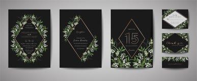 Lyxigt blommatappningbröllop sparar datumet, blom- kortsamling för inbjudan med ramen för guld- folie Moderiktig räkning för vekt royaltyfri illustrationer