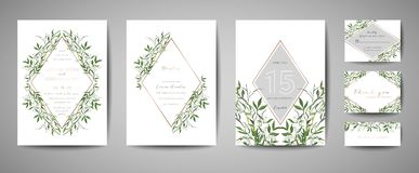 Lyxigt blommatappningbröllop sparar datumet, blom- kortsamling för inbjudan med ramen för guld- folie Moderiktig räkning för vekt vektor illustrationer