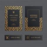 Lyxigt bröllopinbjudan- eller hälsningkort med guld- orange för tappning vektor illustrationer