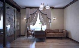 Lyxigt engelskt arbetsrum med bokhyllan Arkivfoto