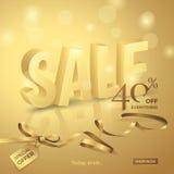 Lyxigt försäljningsbaner för vektor med text 3d, bandet, den lilla pilbågen och etiketten Royaltyfri Fotografi