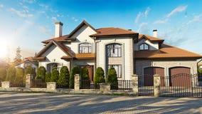 Lyxigt familjhus med att landskap stock illustrationer