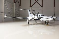 Lyxigt flygplan i en stor hangar royaltyfri fotografi