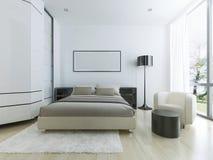 Lyxigt hotellrum i vit Fotografering för Bildbyråer