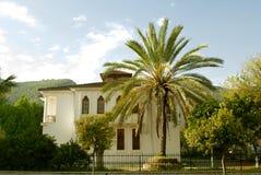 Lyxigt hus med en palmträd i gården arkivfoton