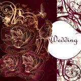 Lyxigt inbjudankort med rosor för design vektor illustrationer