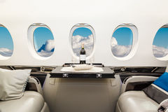 Lyxigt inre flygplanaffärsflyg Arkivfoto