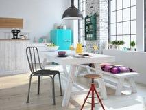 Lyxigt kök med rostfritt stålanordningar royaltyfri bild