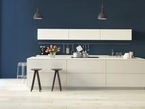 Lyxigt kök med rostfritt stålanordningar royaltyfria bilder