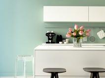 Lyxigt kök med rostfritt stålanordningar arkivbilder