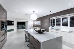 Lyxigt kök med väggugnskabinetter och utsmyckade objekt Royaltyfri Fotografi