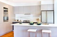 Lyxigt kök med vita väggar av ett modernt hus Royaltyfria Bilder