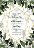 Lyxigt kort för marmorbröllopinbjudan med Olive Brunches Arkivbilder