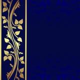 Lyxigt mörker - blå bakgrund med den guld- gränsen. royaltyfri illustrationer