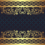 Lyxigt mörker - blå bakgrund med guld- blom- gränser Royaltyfri Foto