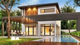 Lyxigt modernt hem med den stora terrassen och simbassängen stock illustrationer