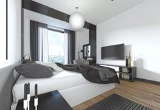 Lyxigt modernt sovrum i modern stil i svart och whi royaltyfri illustrationer