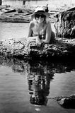 lyxigt near hav för lady Arkivbild