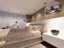 Lyxigt sovrum i den moderna stilen för aftonljus stock illustrationer