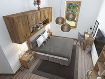 Lyxigt sovrum i en modern stil Fotografering för Bildbyråer