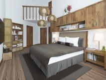 Lyxigt sovrum i en modern stil Royaltyfria Bilder