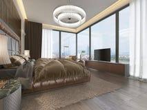 Lyxigt sovrum i modern stil med stora fönster i väggen Ljuskrona för frostat exponeringsglas, dressingtabell, TVenhet med stock illustrationer