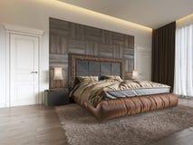 Lyxigt sovrum i modern stil med stora fönster i väggen Ljuskrona för frostat exponeringsglas, dressingtabell, TVenhet med vektor illustrationer