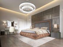 Lyxigt sovrum i modern stil med stora fönster i väggen Ljuskrona för frostat exponeringsglas, dressingtabell, TVenhet med royaltyfri illustrationer